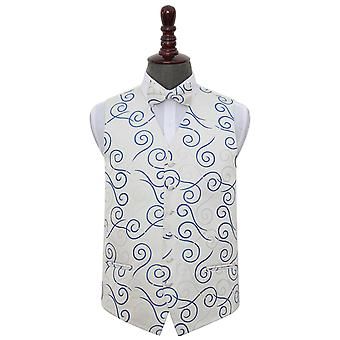 White & Royal Blue Scroll Wedding Waistcoat & Bow Tie Set