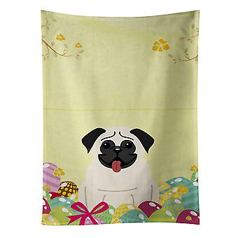 Carolines Treasures  BB6004KTWL Easter Eggs Pug Cream Kitchen Towel