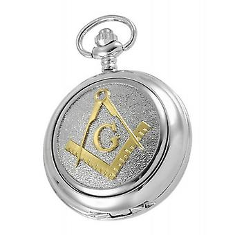 Woodford Masonic Albert Skeleton Pocket Watch - Silver/Gold