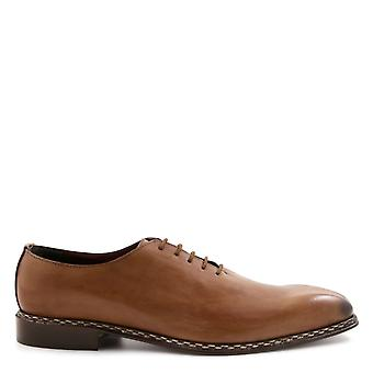 Leonardo shoes mens 13822 BEIGE brown leather lace-up shoes