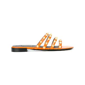 Balenciaga women's 468024WAD40 Orange Leather sandals