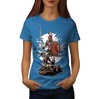 Sparta Warrior Fantasy Women Royal BlueT-shirt | Wellcoda