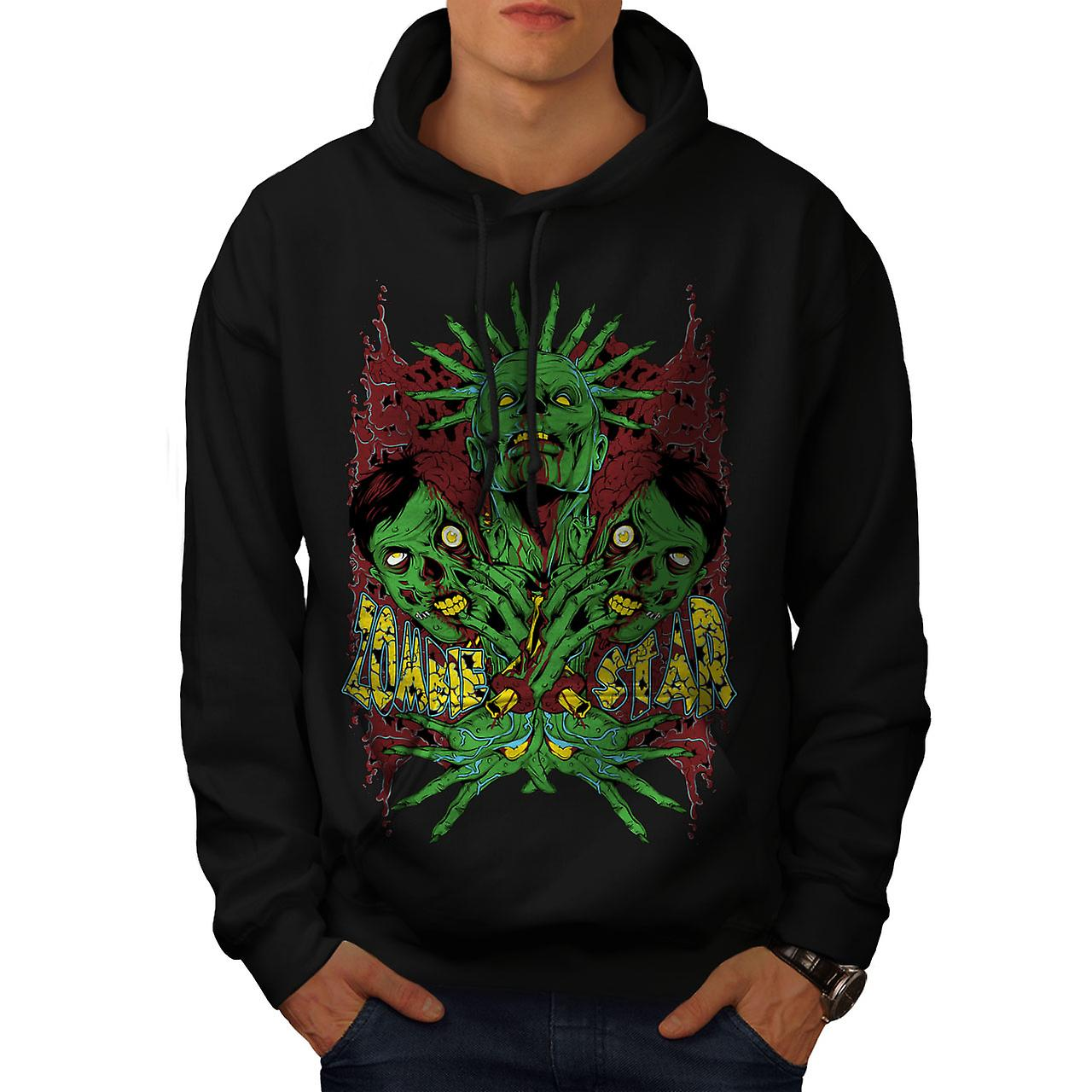 Star Monster Green Zombie Men Black Hoodie | Wellcoda