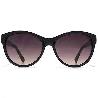 SUUNA Sian Diamante Trim Cateye Sunglasses In Shiny Black