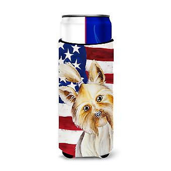 Yorkie Yorkshier Terrier Patriotic Michelob Ultra Hugger for slim cans