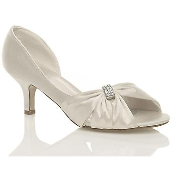 Ajvani womens wedding bridal prom shoes low heel bridesmaid evening sandals