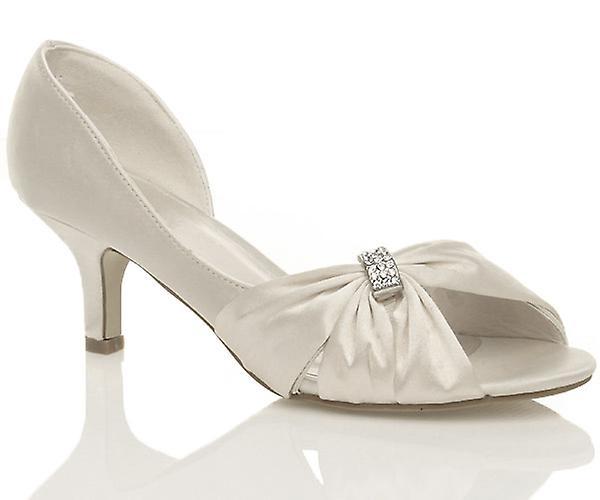 Ajvani Womens Hochzeit Braut Prom Schuhe niedrigem Absatz Brautjungfer Abend Sandalen