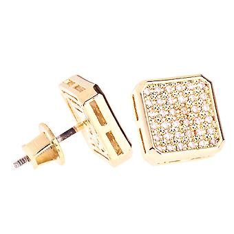 Iced out bling micro pave earrings - SLICED 10 mm gold