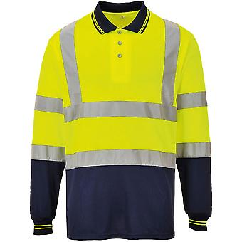 Portwest Mens Hi Visibility Two Tone Light Long Sleeve Work Polo Shirt
