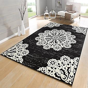 Designer velour carpet lace black cream white | 102420