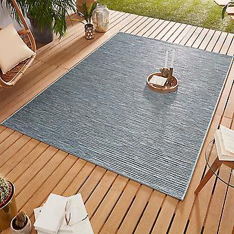 Design Outdoorteppich Web tæppe flad væve | Ivy Ocean Blau