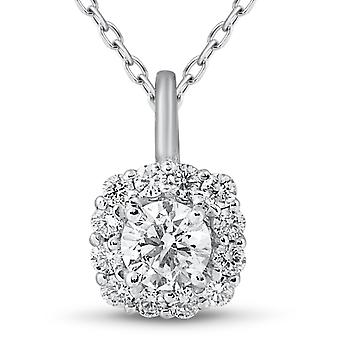 5/8ct Cushion Halo Diamond Pendant 14k White Gold & 18