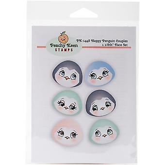 Peachy Keen Stamps Clear Face Assortment 6/Pkg-Happy Penguin Couples