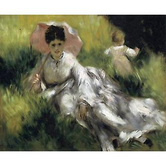 Woman with a Parasol and Small Child on a Sunlit, Pierre Renoir