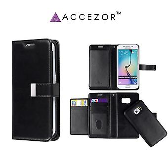 Spacious Wallet case with Removable covers for Galaxy S6 Edge (Accezor ™ Casey)