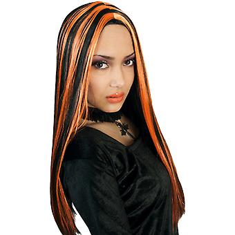 Wig witch black orange long hair Centre parting