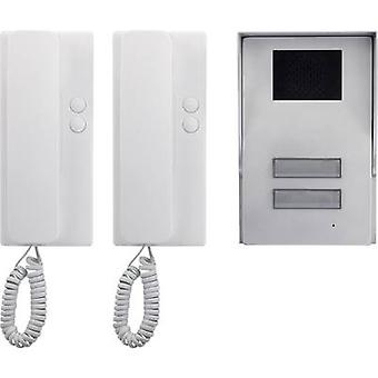 Basetech Door intercom Corded Complete kit Semi-detached Silver, White