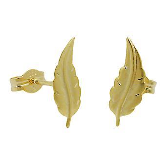 Ohrringe Ohrstecker gold 333 Stecker Blatt matt-diamantiert, 8 Kt GOLD