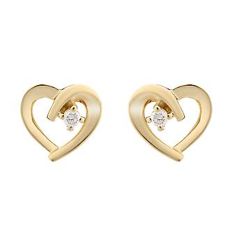 Orphelia Silver 925 Earring Gold-color Heart With 1 Zirconium - zo-7370 G