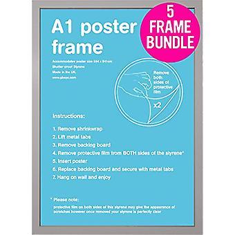 GB plakaty 5 srebrny A1 plakat ramki 59,4 x 84,1 cm Bundle