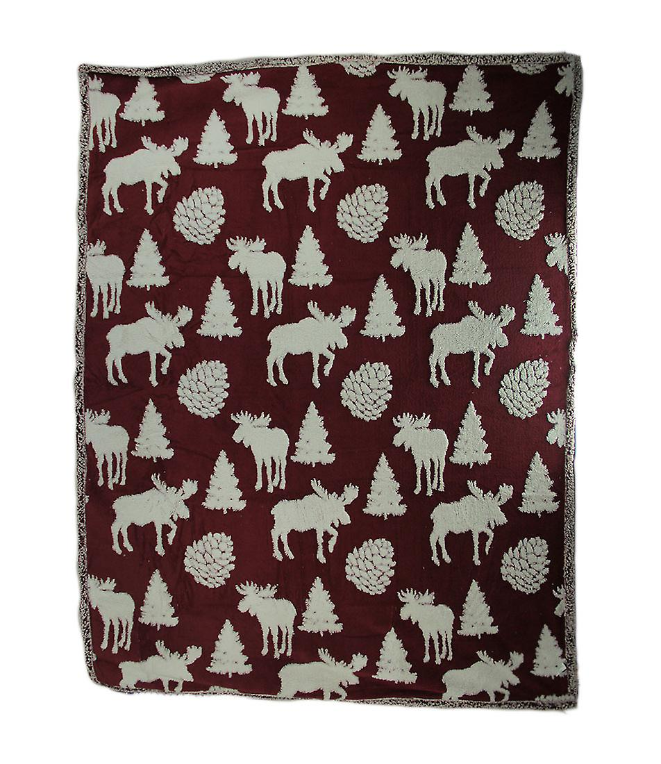 And Blanket White Ultra Red Fleece Melange Plush Soft Double Throw Moose iPXZuk