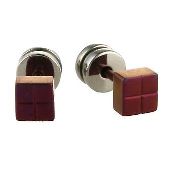 TI2 Titanium Square Ohrstecker - Mulberry-braun