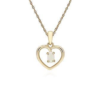 Gemondo 9ct Gelb Gold Opal Oval einzelner Stein Herz Anhänger auf 45cm Kette