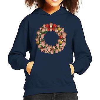 Christmas Wreath Multi Donald Trump Kid's Hooded Sweatshirt