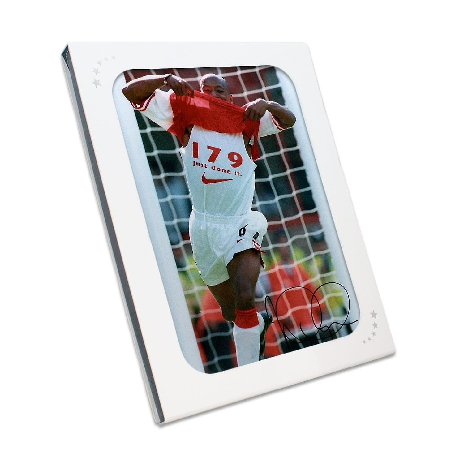 Ian Wright Signed Arsenal Photo In Gift Box  179 Goals