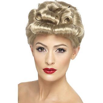 Corta peluca rubia rizada, 40s Vintage peluca 1940, WW2