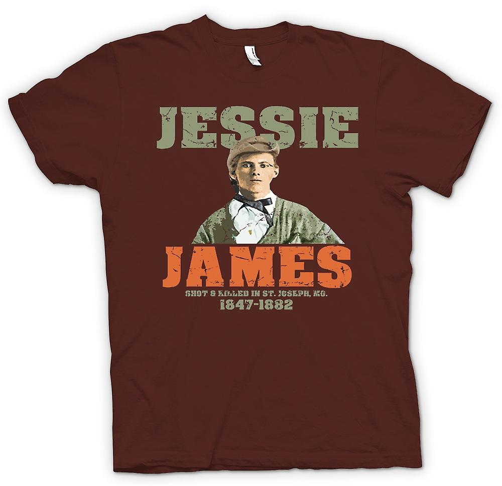 Mens T-shirt - Jesse James - Shot And Killed 1882