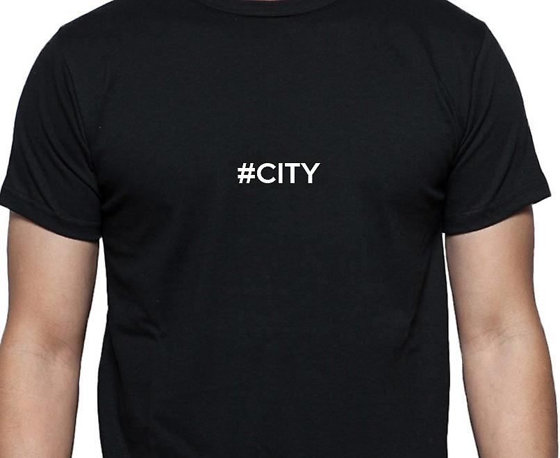 #City Hashag City Black Hand Printed T shirt
