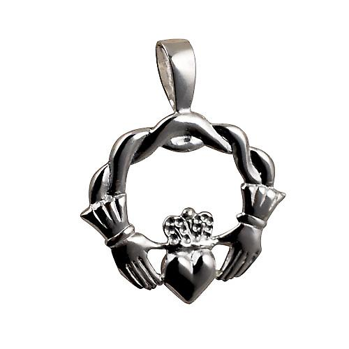 Silver 27x30mm twisted cord top Claddagh Pendant