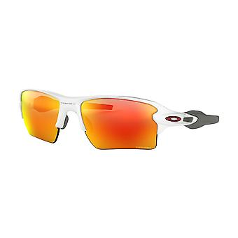 Oakley OO9188 918893 Polished White Flak 2.0 Xl Rectangle Sunglasses Lens Category 3 Lens Mirrored Size 59mm