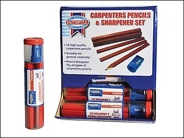 Faithfull Carpenters Pencils Red (12 x Tubes of 12 + Sharpener)
