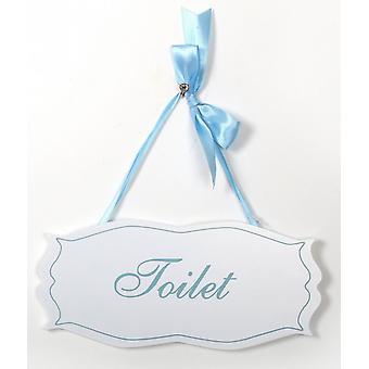 Toilet Plaque Sign Delicate Blue White Elegant Design Silky Blue Ribbon Hanger (300087TO)