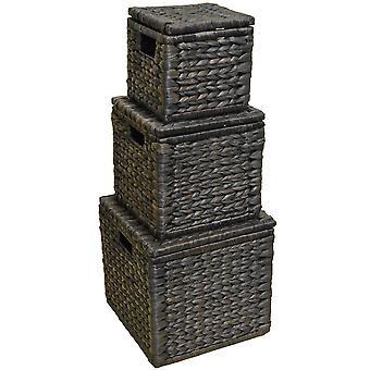 Weben Sie - Set 3 natürliche geflochtene Wasserhyazinthe-Boxen mit aufklappbaren Deckel - Schokolade