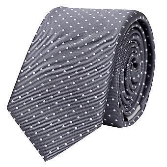 Schlips Krawatte Krawatten Binder 6cm grau weiß gepunktet Fabio Farini