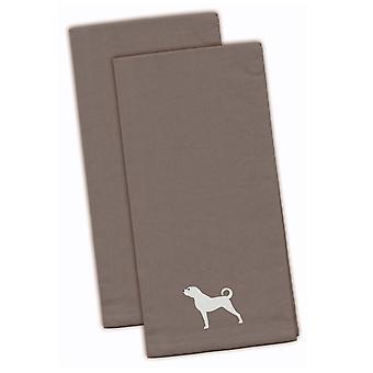 Anatolian Shepherd Gray Embroidered Kitchen Towel Set of 2