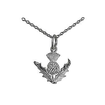 Silver 15mm Scotish Thistle Pendant with a rolo Chain 14 inches Only Suitable for Children