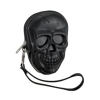 Glossy Black Molded Skull Shaped Wristlet Purse w/Removable Strap