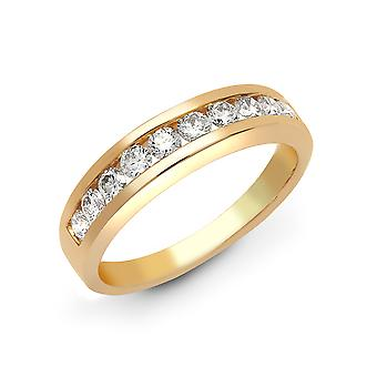 Jewelco Londen dames Solid 18ct Yellow Gold Channel set ronde G SI1 0.75 Ct Diamond sierlijke band Eternity Ring 4mm