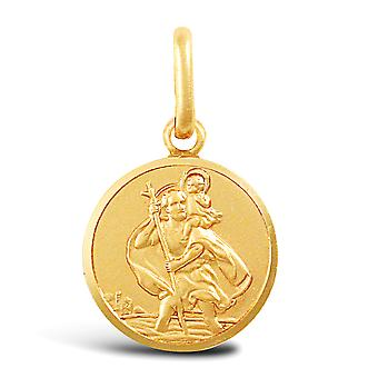 Jewelco London solid 9ct gul guld mat St Christopher medaljon vedhæng