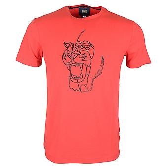 Cavalli Class Ananke Stretch Cotton Rubberised Logo Red T-shirt
