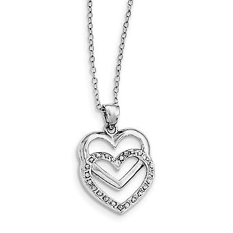 925 Sterling Silver Polished Gift Boxed Spring Ring Platinum-plated Diamond Mystique 18inch Dangle Heart Necklace