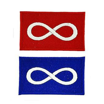 Lot De 2 Patch Ecusson Brode Drapeau Metis Canada Quebec Infini Thermocollant