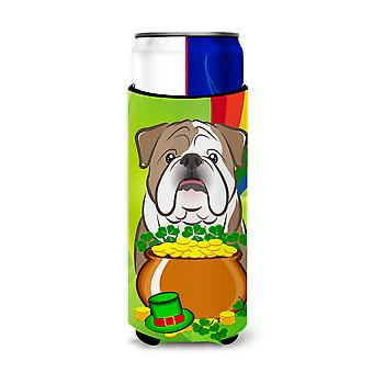 English Bulldog  St. Patrick's Day Michelob Ultra Koozies for slim cans BB1963MUK