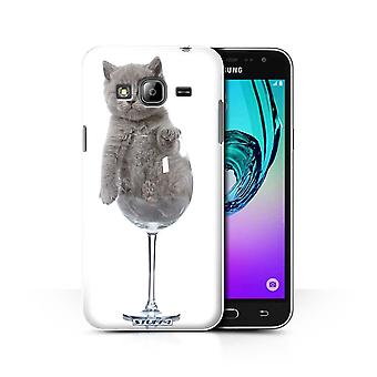 STUFF4 Case/Cover for Samsung Galaxy J3/Wine Glass/Cute Kittens