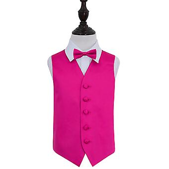 Boy's Hot Pink Plain Satin Wedding Waistcoat & Bow Tie Set