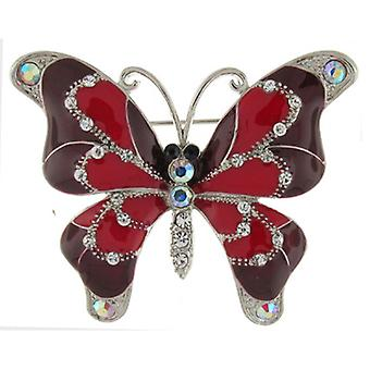 Brooches Store Glossy Red Enamel and Crystal Butterfly Brooch
